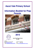 Ascot Vale Primary School Information Booklet for Prep Parentsv1.0