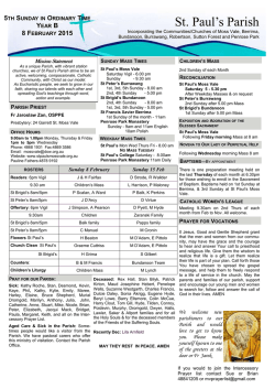 Parish Bulletin - Click here forour home page
