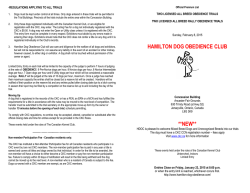 HAMILTON DOG OBEDIENCE CLUB **NEW**
