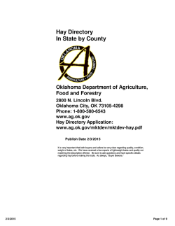Hay Directory - Oklahoma Department of Agriculture, Food and