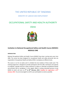 THE UNITED REPUBLIC OF TANZANIA OCCUPATIONAL