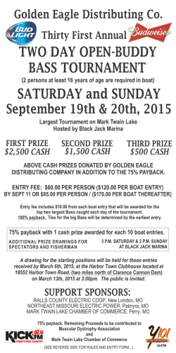 31st Annual Golden Eagle Distributing Open Buddy Bass Tournament