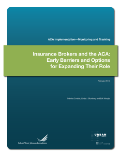 Insurance Brokers and the ACA: Early Barriers and