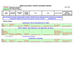 PINELLAS COUNTY TRAFFIC ADVISORY REPORT