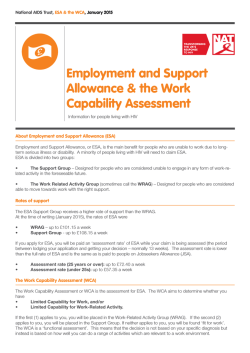 Factsheet on Employment and Support Allowance