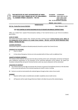 TENDER NOTICE Ref. No.: Tender/Pest Control /02/2015 Date