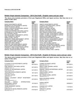 British Virgin Islands Companies - 2014