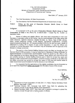 F. No. 9/21/2014-E0(SM-I) Government of India Ministry