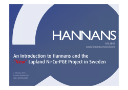 An Introduction to Hannans and the *New* Lapland Ni-Cu-PGE