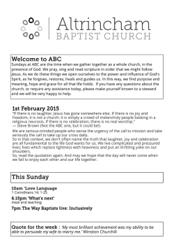 Latest Bulletin - Altrincham Baptist Church