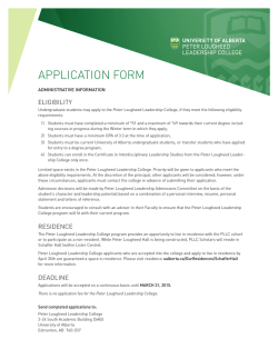 APPLICATION FORM - University of Alberta
