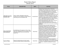 Project Status Report January 2015