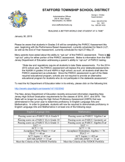PARCC Assessment Letter - Stafford Township School District