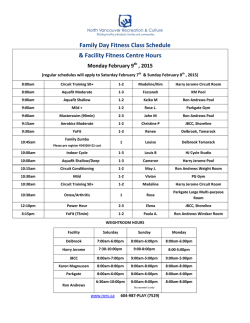 Family Day Holiday Fitness Schedule