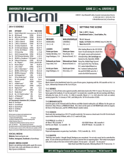 UNIVERSITY OF MIAMI GAME 22 | vs. LOUISVILLE