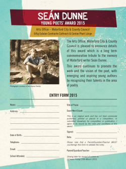 Entry Form Seán Dunne Young Poets Award 2015