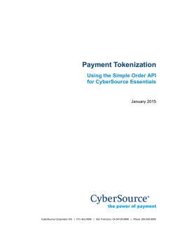 Payment Tokenization Using the Simple Order API for CyberSource