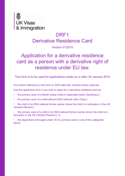 DRF1 Derivative Residence Card Application for a