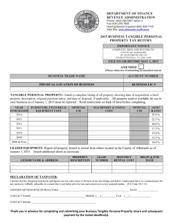 2015 Business Personal Property Tax Statement