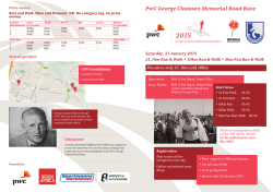 Flyer for the PWC George Claasen race on 31 Jan 2015.