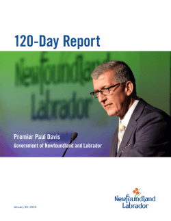120-Day Report - Premier - Government of Newfoundland and