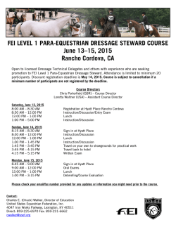 FEI LEVEL 1 PARA-EQUESTRIAN DRESSAGE STEWARD