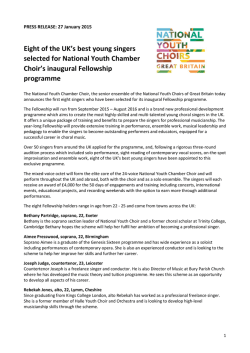 Press Release - National Youth Choir of Great Britain