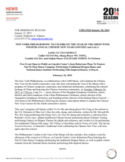 FOR IMMEDIATE RELEASE UPDATED January 28, 2015 January