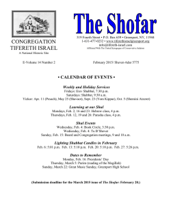 The Shofar - February - Congregation Tifereth Israel