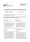 Ysgoloriaeth Dan Lynn James Scholarship 2015