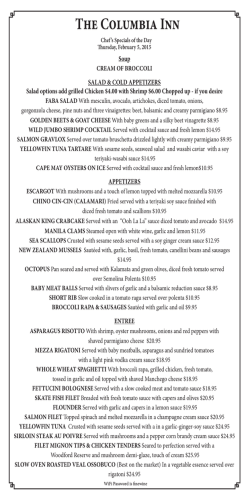 Specials - The Columbia Inn
