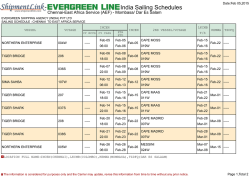 India Sailing Schedules