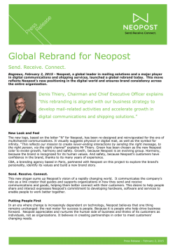 Press Release - Global Rebrand for Neopost