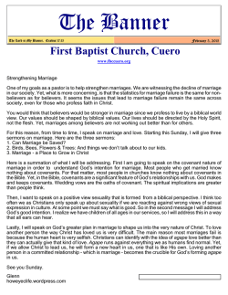 newsletter - First Baptist Church in Cuero