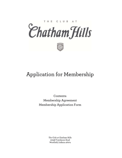 Application for Membership - The Club at Chatham Hills in Westfield