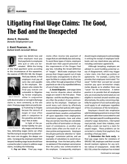 Litigating Final Wage Claims: The Good, The Bad and