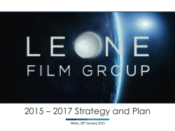 2015 – 2017 Strategy and Plan - Leone Film Group Leone Film Group