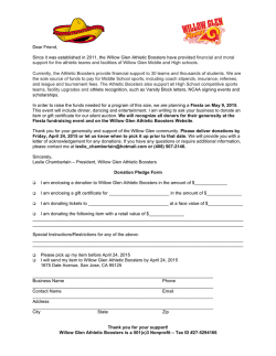 Fiesta Donation Letter - Willow Glen Athletic Boosters