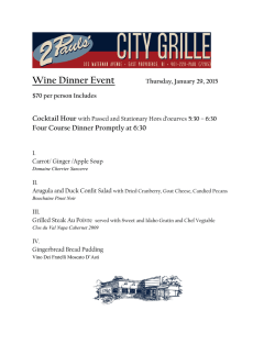 Wine Dinner Event - 2 Pauls City Grille