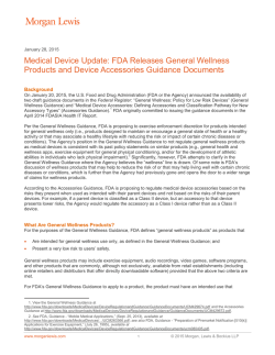 Medical Device Update: FDA Releases General Wellness Products