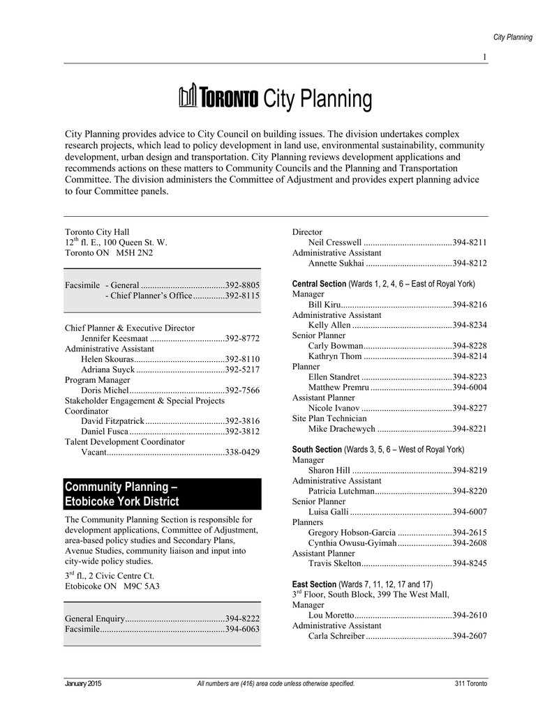 City Planning phone directory