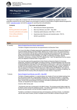 PRA Regulatory Digest - January 2015