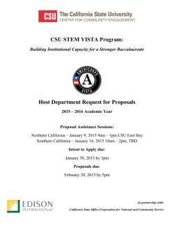 CSU STEM VISTA Program: Host Department Request for Proposals
