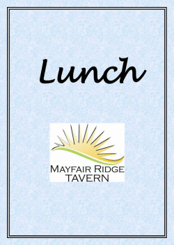 Lunch Menu - Mayfair Ridge Tavern
