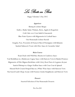 Valentines Day 2015 Menu