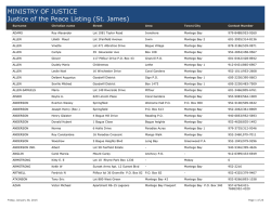 MINISTRY OF JUSTICE Justice of the Peace Listing (St. James)
