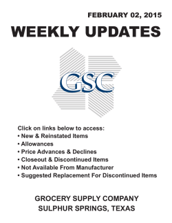 WEEKLY UPDATES - Grocery Supply Company
