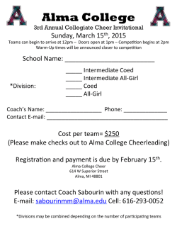 Alma College 3rd Annual Collegiate Cheer Invitational