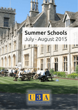 more info on Summer Schools 2015
