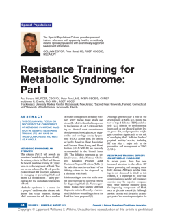 Resistance Training for Metabolic Syndrome: Part I